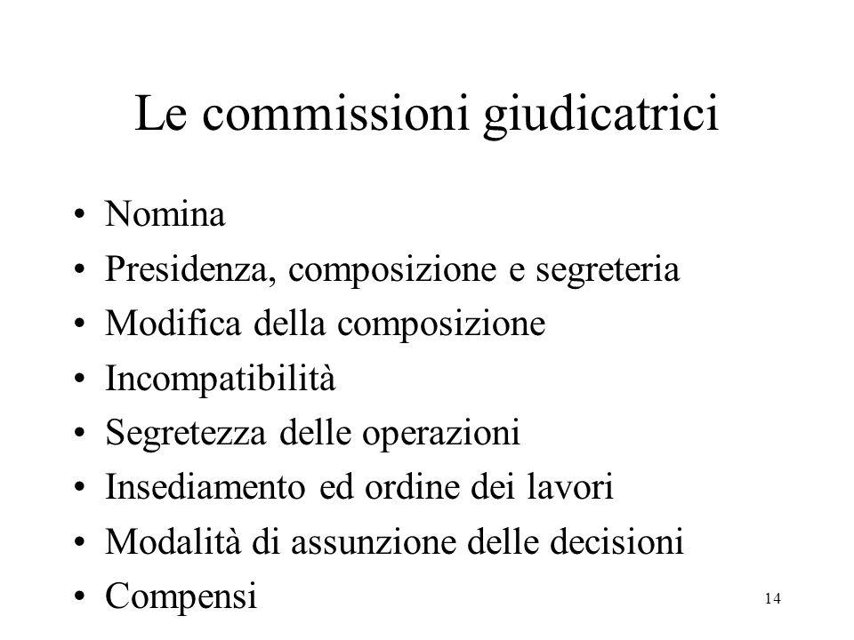 Le commissioni giudicatrici