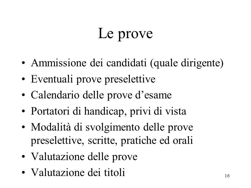 Le prove Ammissione dei candidati (quale dirigente)