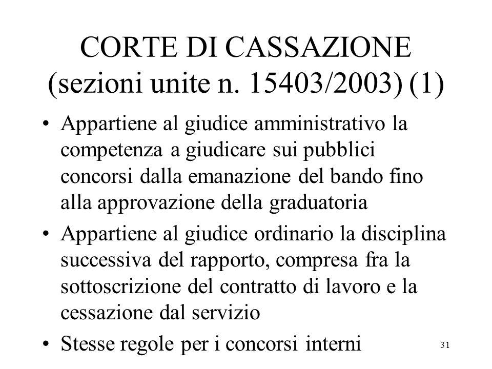 CORTE DI CASSAZIONE (sezioni unite n. 15403/2003) (1)