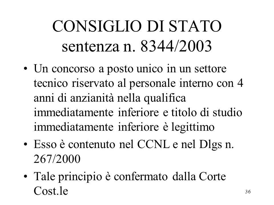 CONSIGLIO DI STATO sentenza n. 8344/2003
