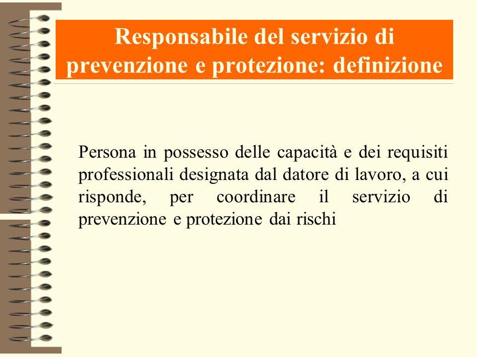 Responsabile del servizio di prevenzione e protezione: definizione