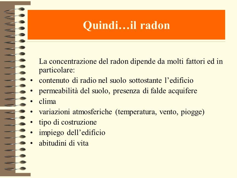 Quindi…il radon La concentrazione del radon dipende da molti fattori ed in particolare: contenuto di radio nel suolo sottostante l'edificio.