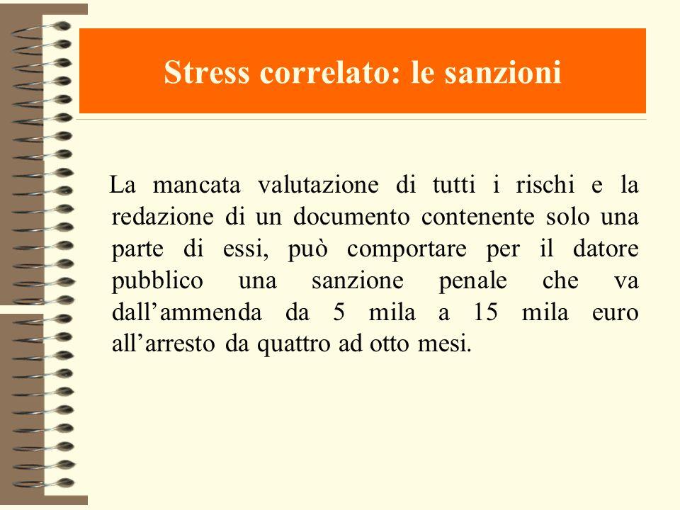 Stress correlato: le sanzioni