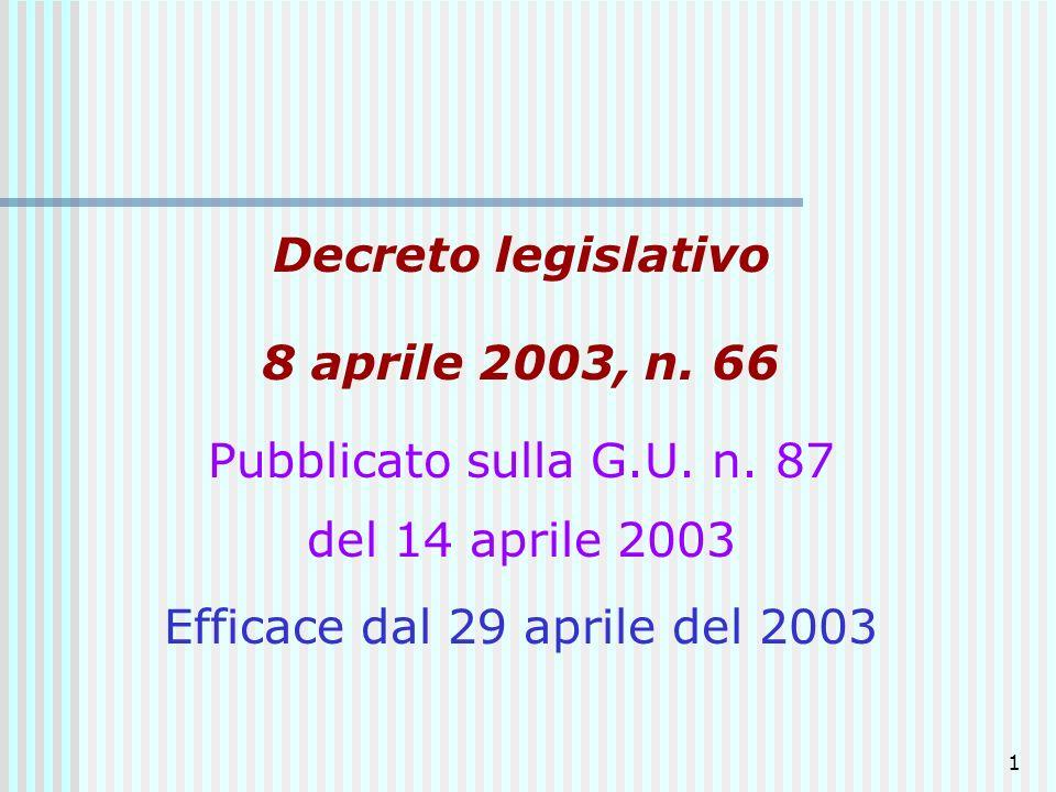 Efficace dal 29 aprile del 2003