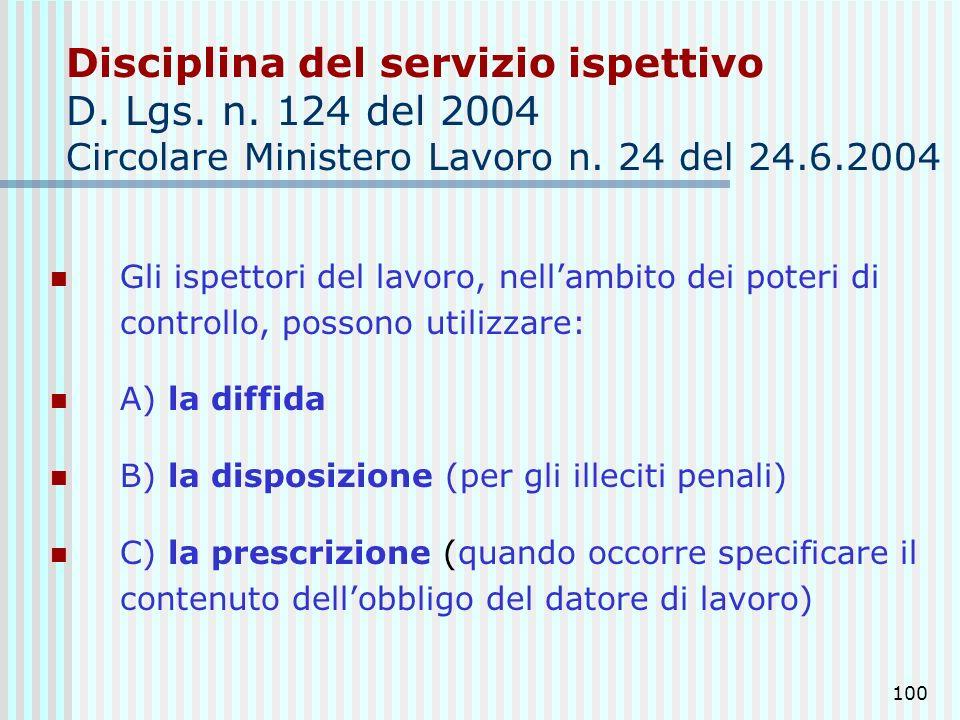Disciplina del servizio ispettivo D. Lgs. n