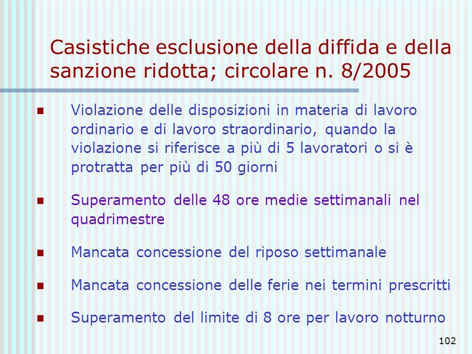 Casistiche esclusione della diffida e della sanzione ridotta; circolare n. 8/2005