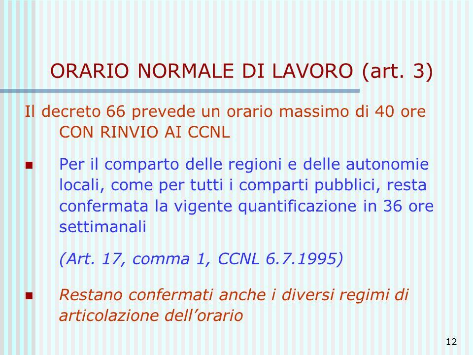 ORARIO NORMALE DI LAVORO (art. 3)