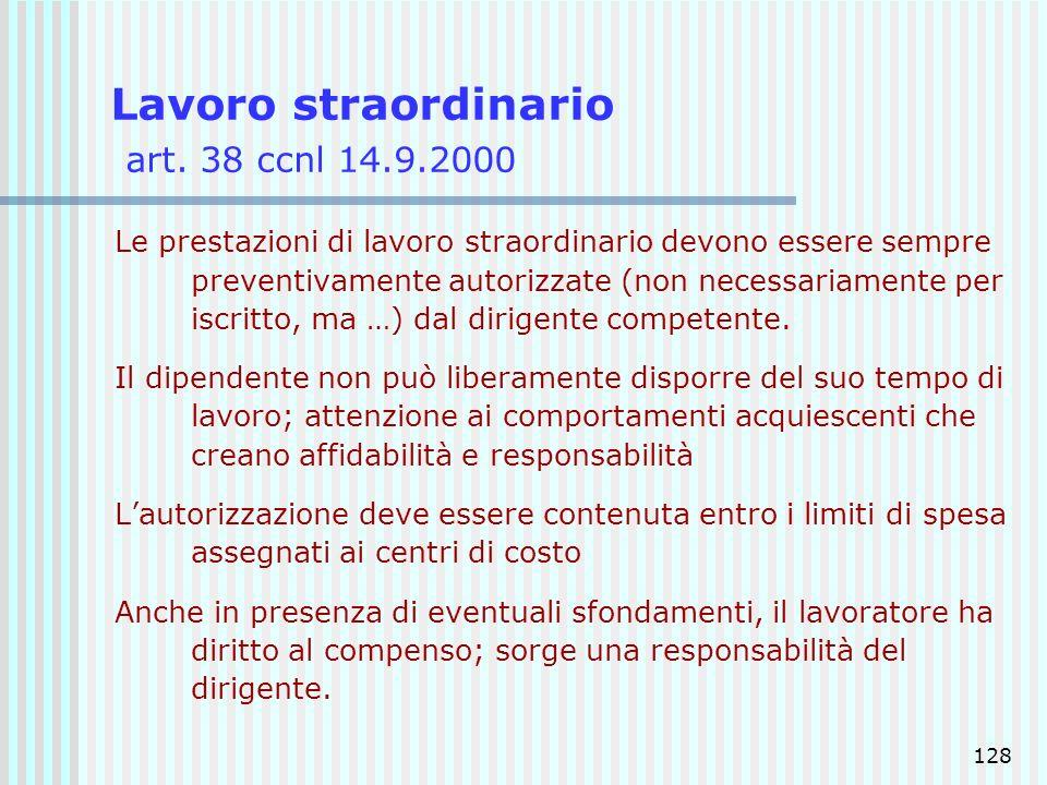 Lavoro straordinario art. 38 ccnl 14.9.2000
