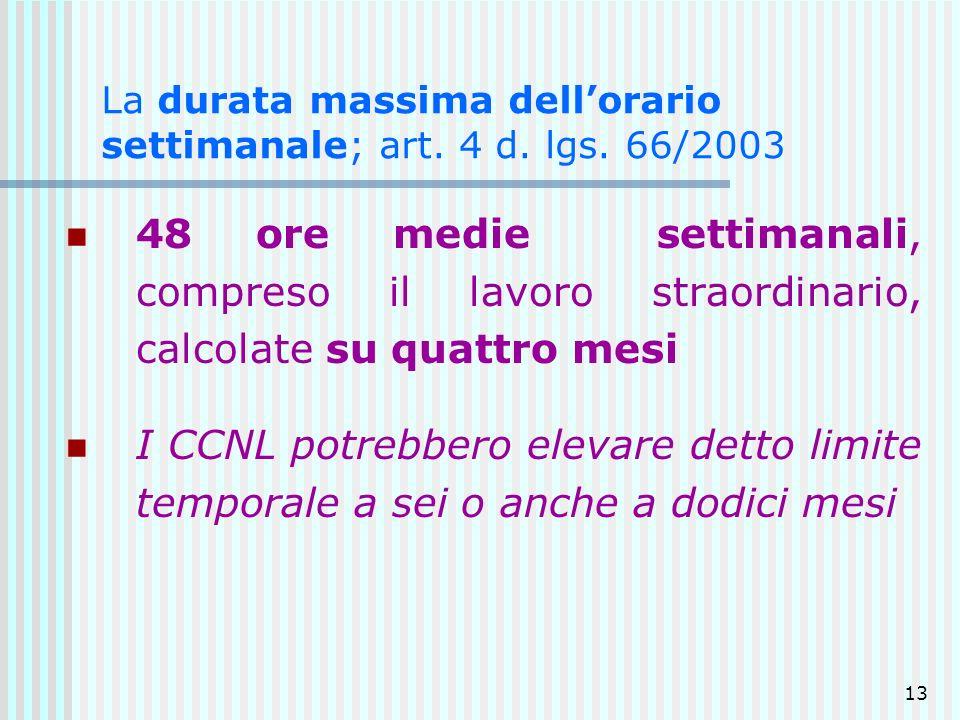 La durata massima dell'orario settimanale; art. 4 d. lgs. 66/2003