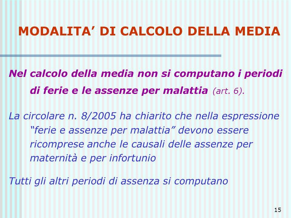 MODALITA' DI CALCOLO DELLA MEDIA