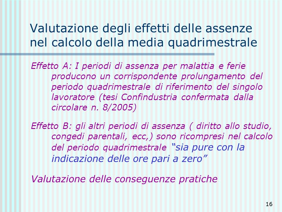 Valutazione degli effetti delle assenze nel calcolo della media quadrimestrale