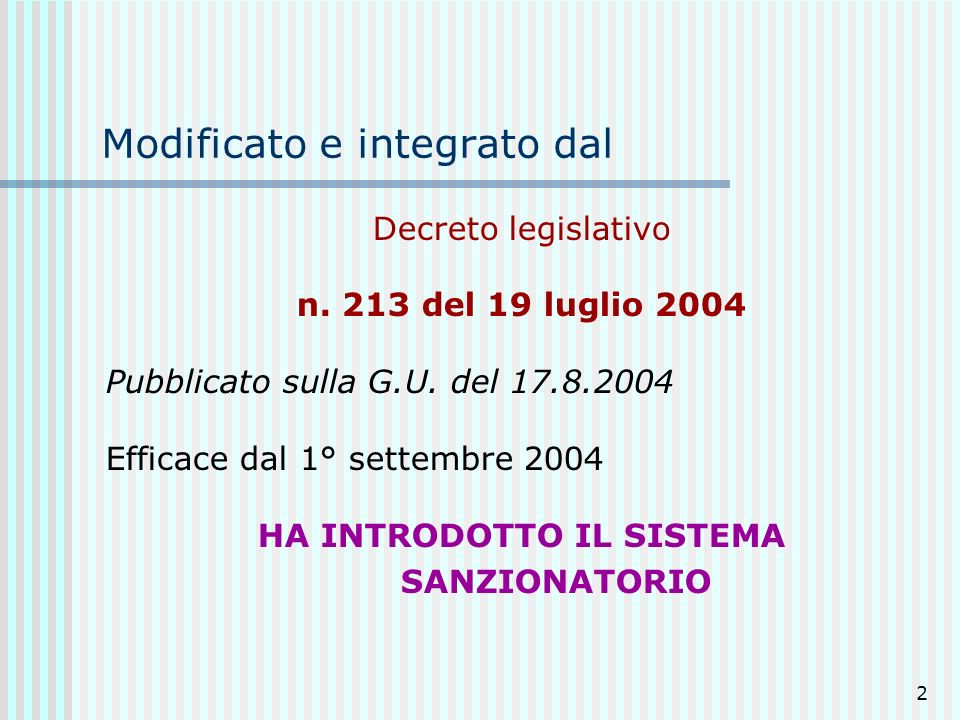 Modificato e integrato dal