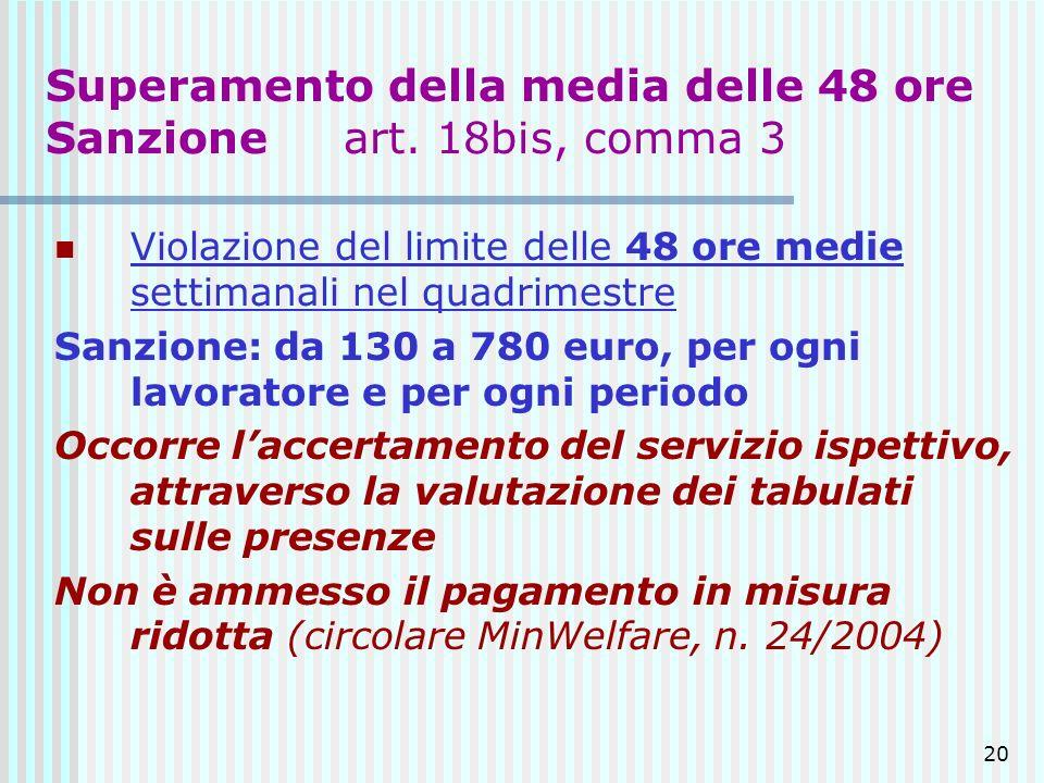 Superamento della media delle 48 ore Sanzione art. 18bis, comma 3