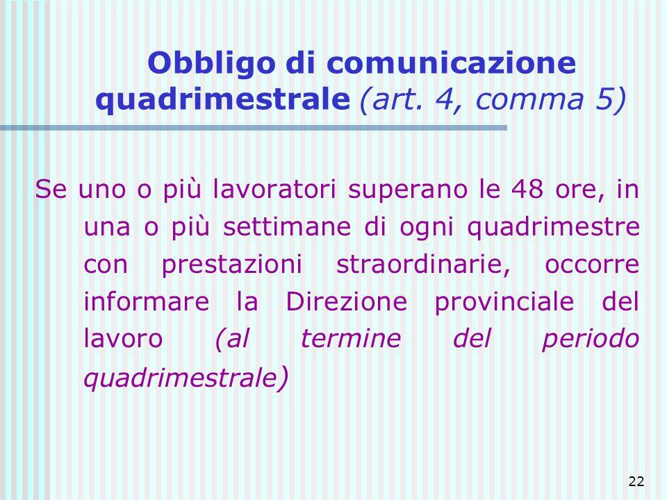 Obbligo di comunicazione quadrimestrale (art. 4, comma 5)