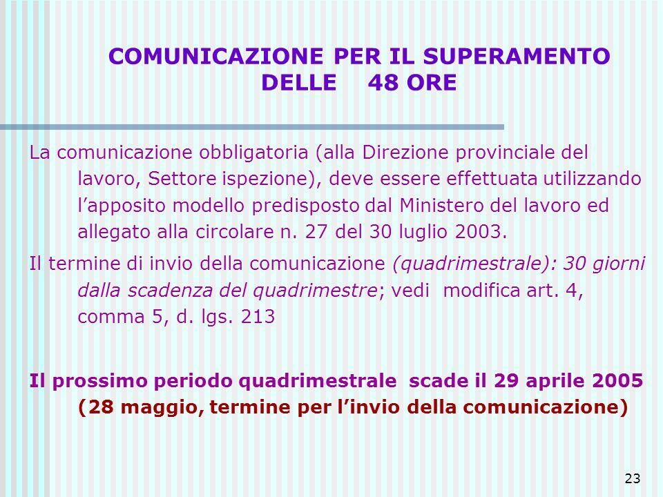 COMUNICAZIONE PER IL SUPERAMENTO DELLE 48 ORE