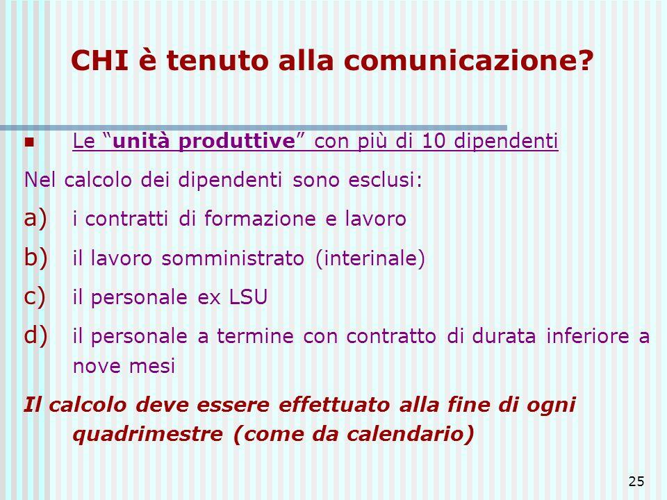 CHI è tenuto alla comunicazione