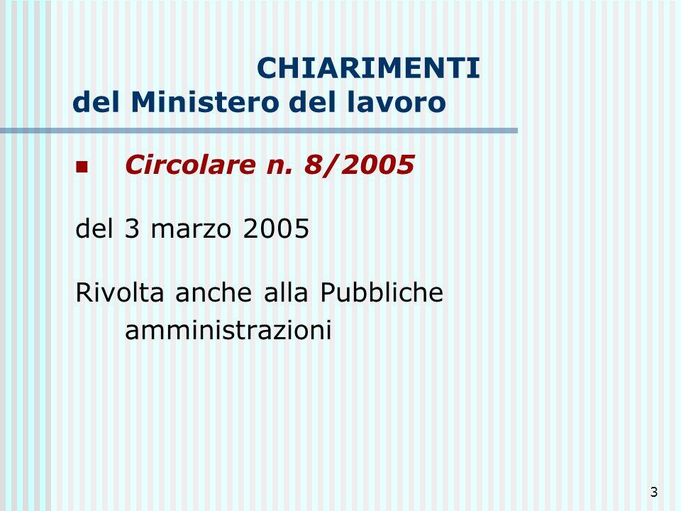 CHIARIMENTI del Ministero del lavoro