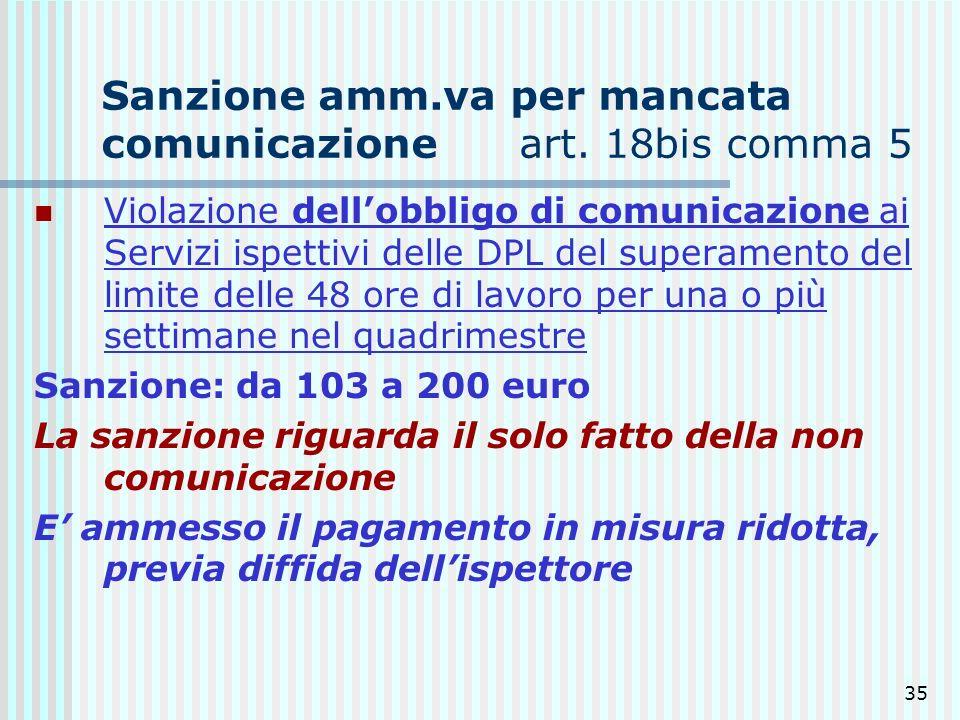 Sanzione amm.va per mancata comunicazione art. 18bis comma 5