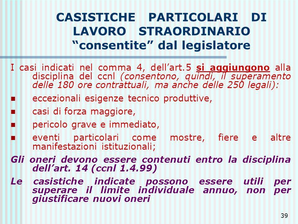CASISTICHE PARTICOLARI DI LAVORO STRAORDINARIO consentite dal legislatore