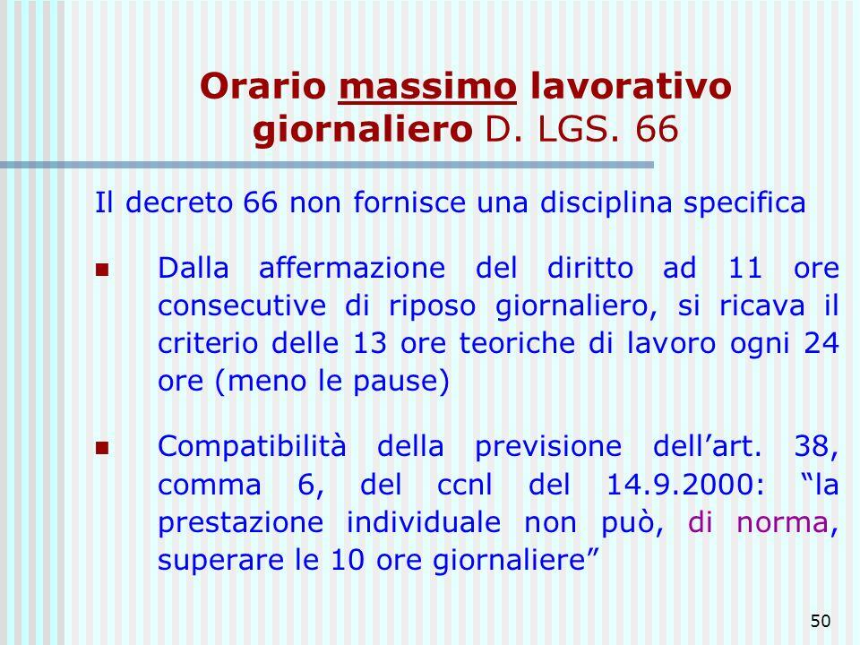 Orario massimo lavorativo giornaliero D. LGS. 66