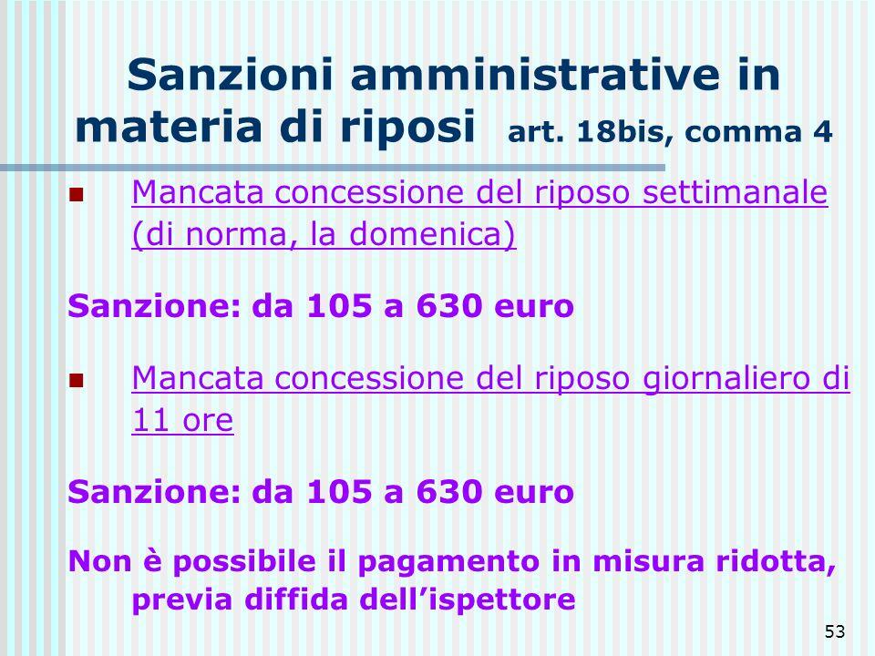 Sanzioni amministrative in materia di riposi art. 18bis, comma 4