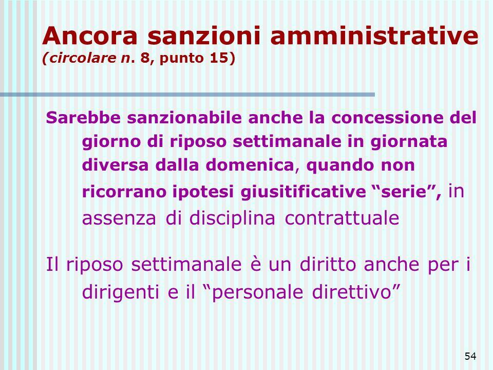 Ancora sanzioni amministrative (circolare n. 8, punto 15)