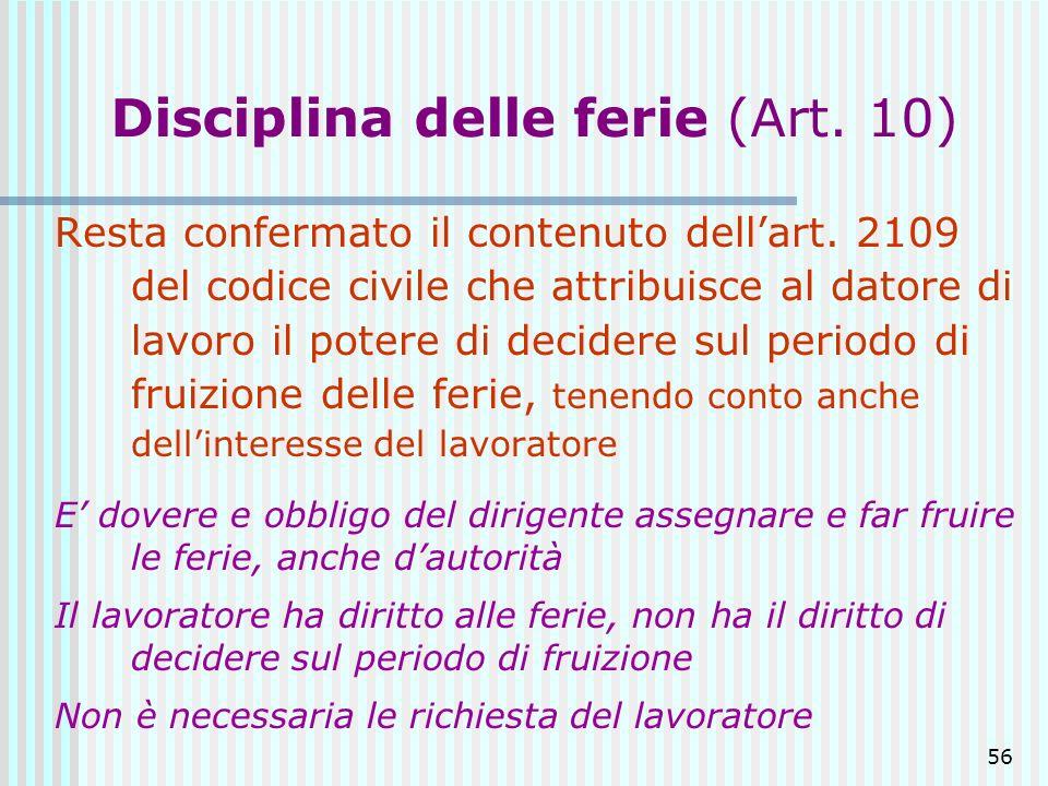 Disciplina delle ferie (Art. 10)