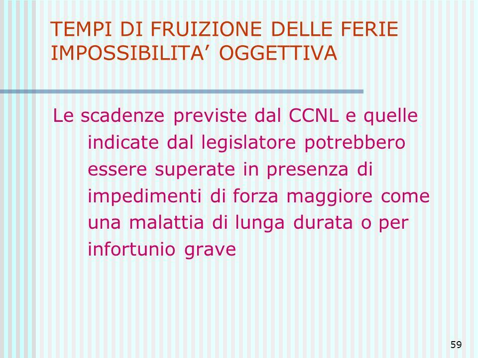 TEMPI DI FRUIZIONE DELLE FERIE IMPOSSIBILITA' OGGETTIVA