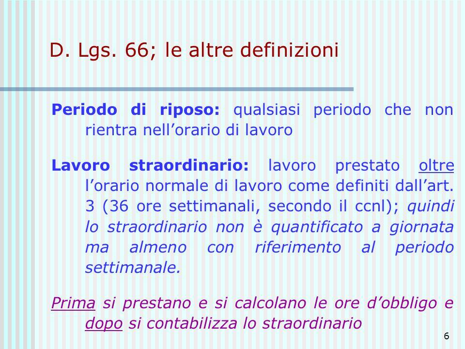 D. Lgs. 66; le altre definizioni