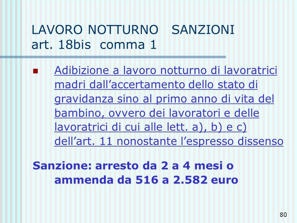 LAVORO NOTTURNO SANZIONI art. 18bis comma 1