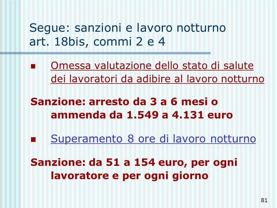 Segue: sanzioni e lavoro notturno art. 18bis, commi 2 e 4