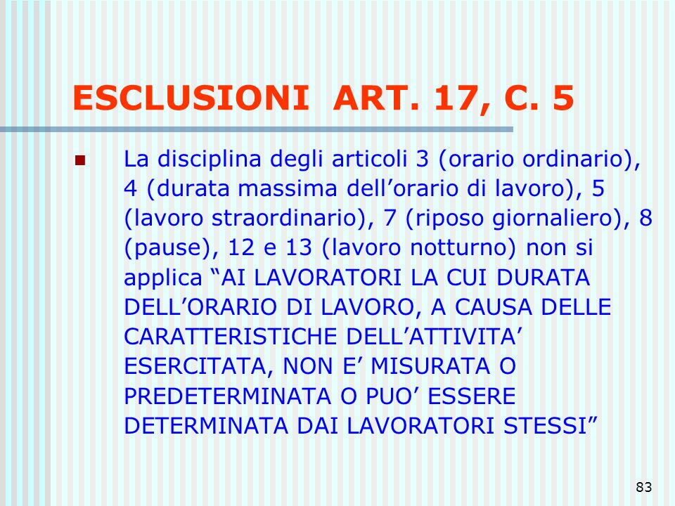 ESCLUSIONI ART. 17, C. 5