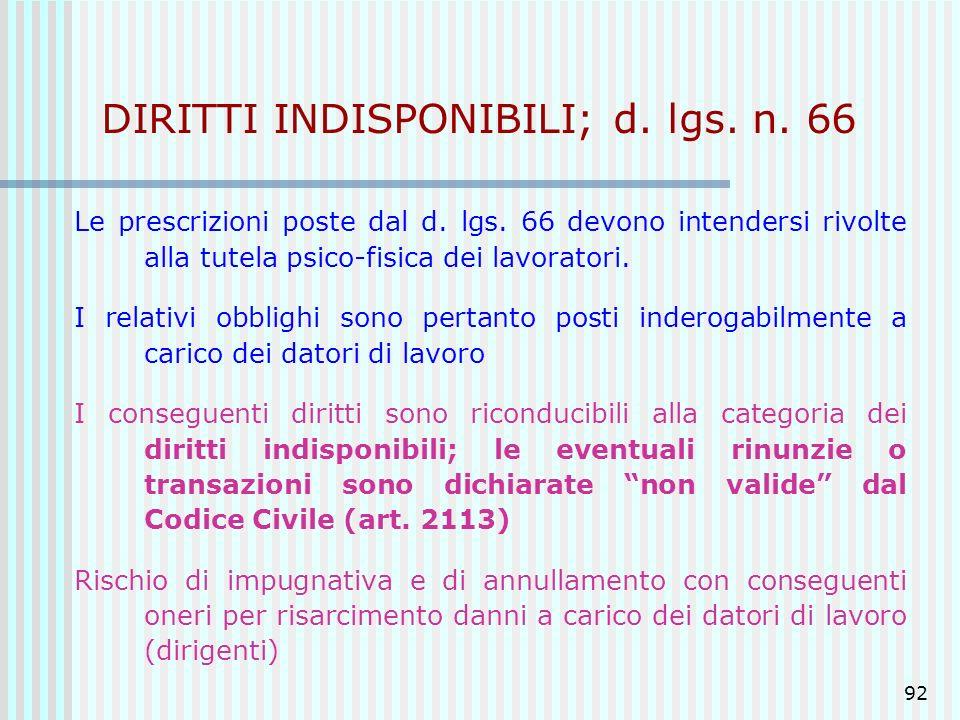 DIRITTI INDISPONIBILI; d. lgs. n. 66