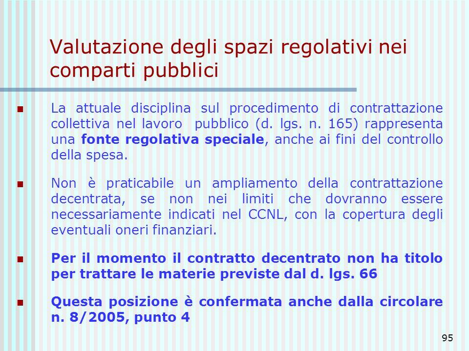 Valutazione degli spazi regolativi nei comparti pubblici