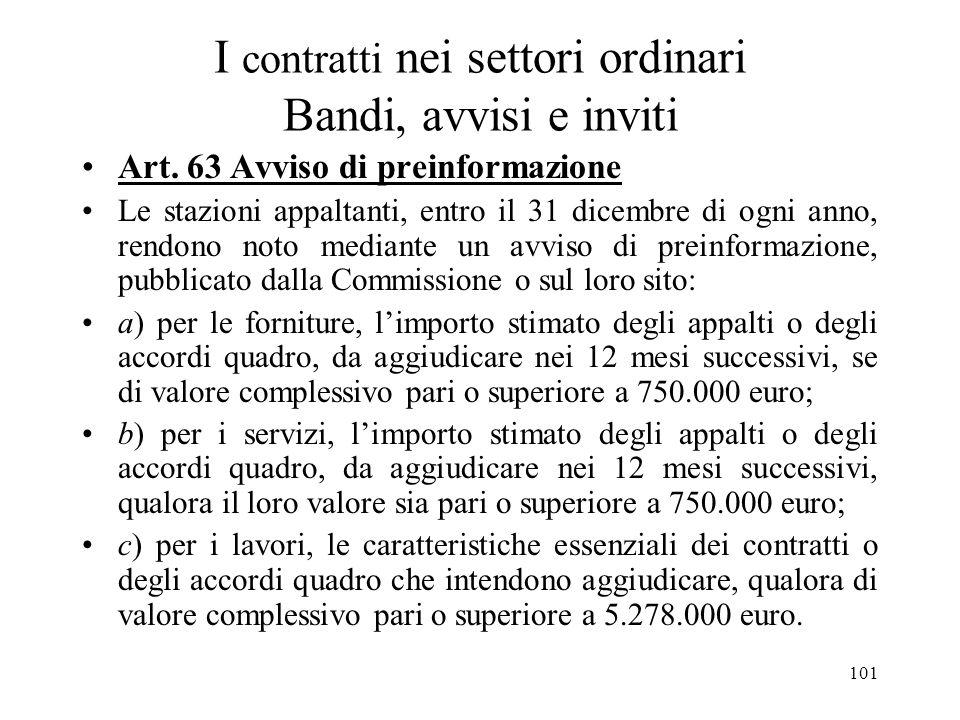 I contratti nei settori ordinari Bandi, avvisi e inviti