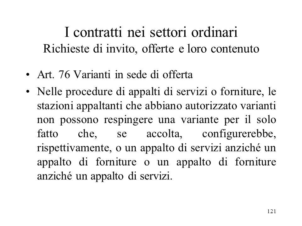 I contratti nei settori ordinari Richieste di invito, offerte e loro contenuto