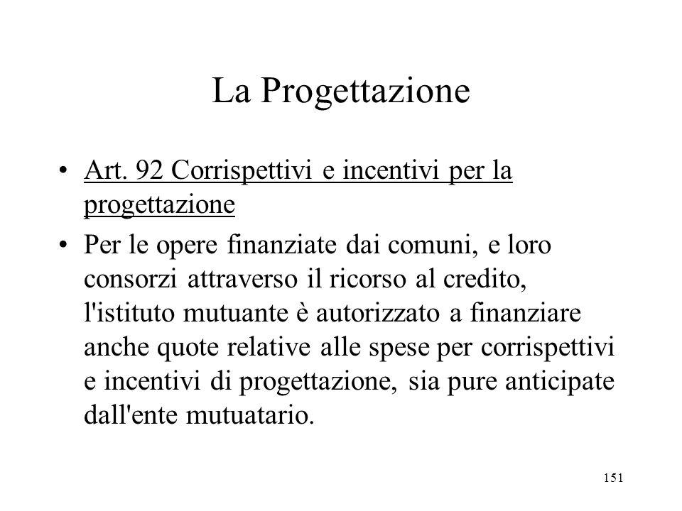 La Progettazione Art. 92 Corrispettivi e incentivi per la progettazione.