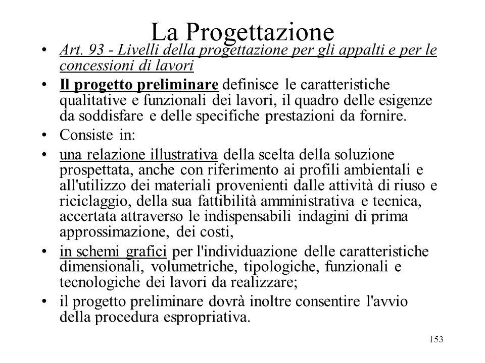 La Progettazione Art. 93 - Livelli della progettazione per gli appalti e per le concessioni di lavori.