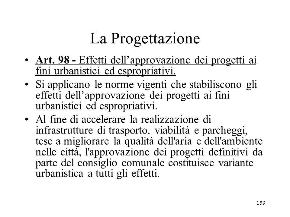 La Progettazione Art. 98 - Effetti dell'approvazione dei progetti ai fini urbanistici ed espropriativi.