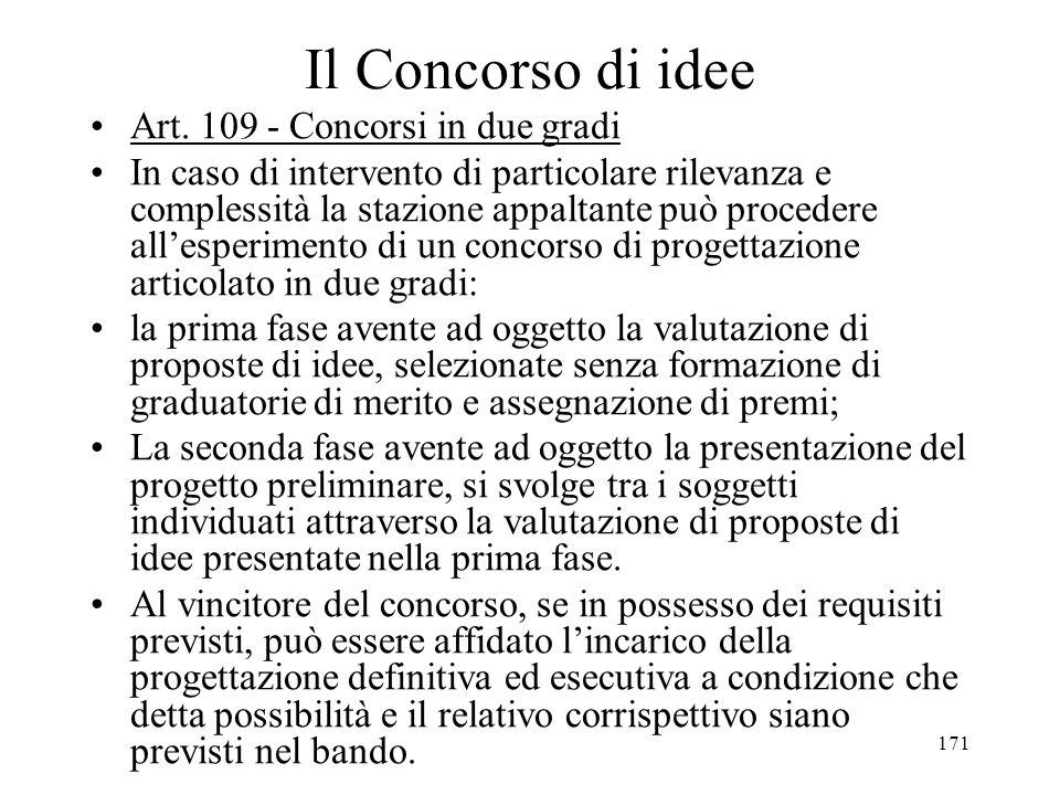 Il Concorso di idee Art. 109 - Concorsi in due gradi