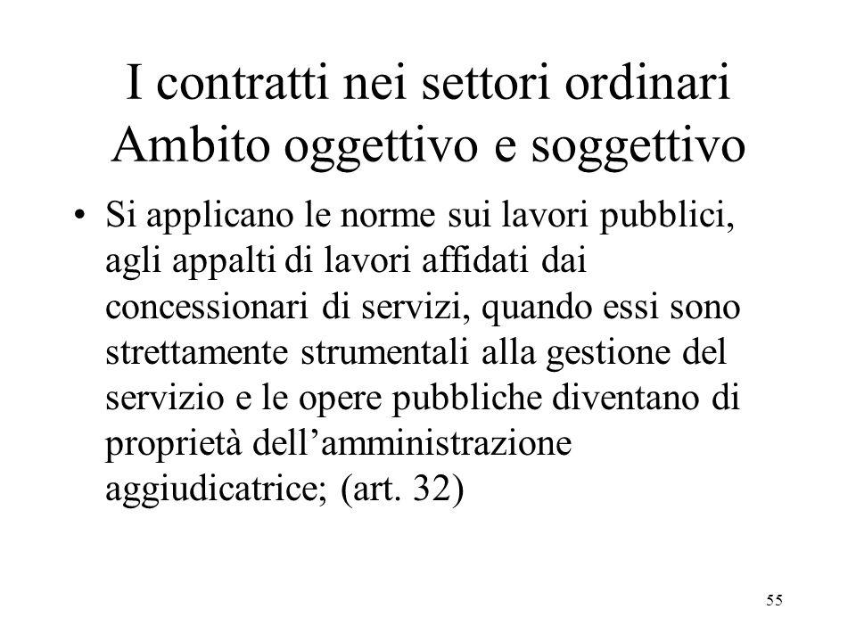 I contratti nei settori ordinari Ambito oggettivo e soggettivo