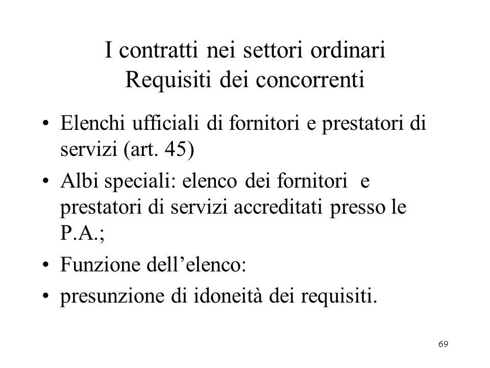 I contratti nei settori ordinari Requisiti dei concorrenti