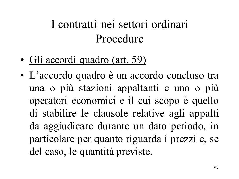 I contratti nei settori ordinari Procedure