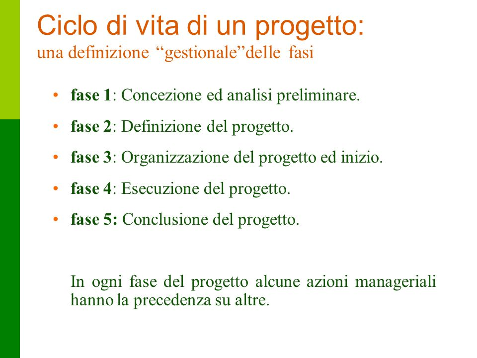 Ciclo di vita di un progetto: una definizione gestionale delle fasi