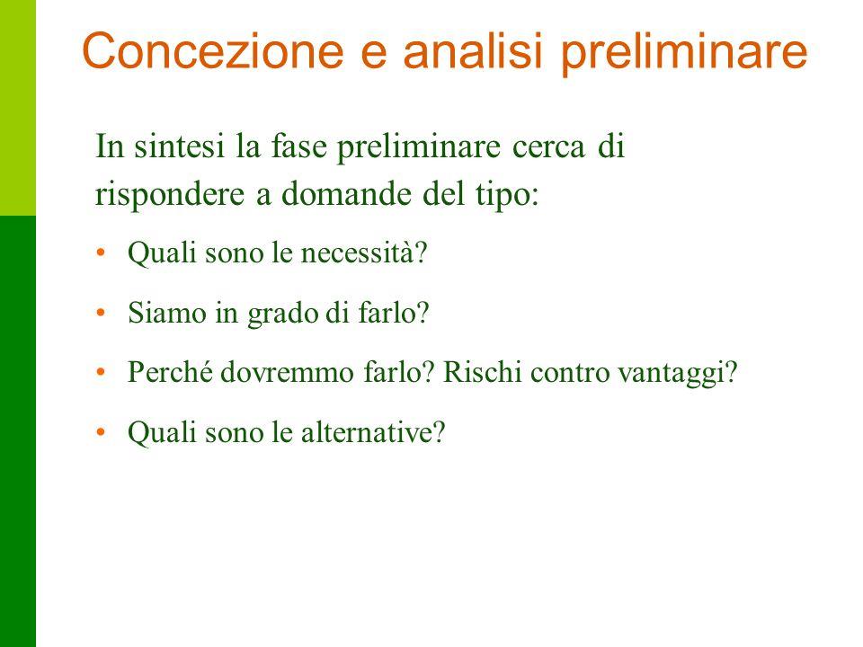 Concezione e analisi preliminare