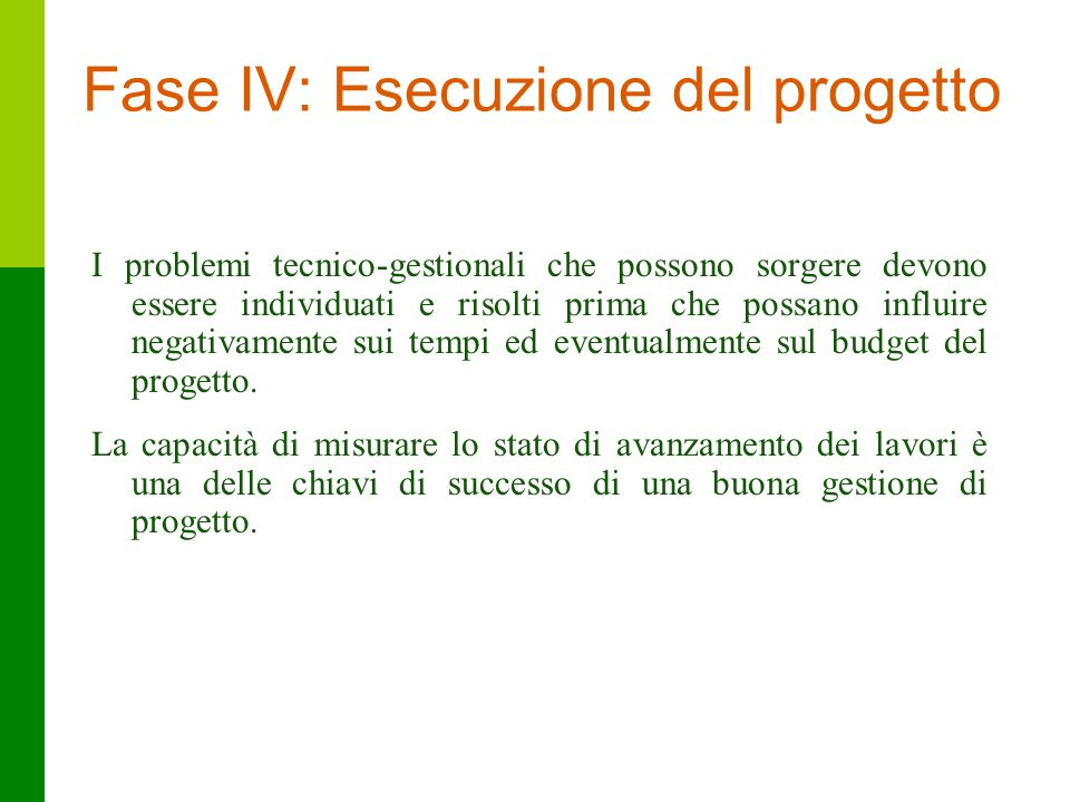 Fase IV: Esecuzione del progetto