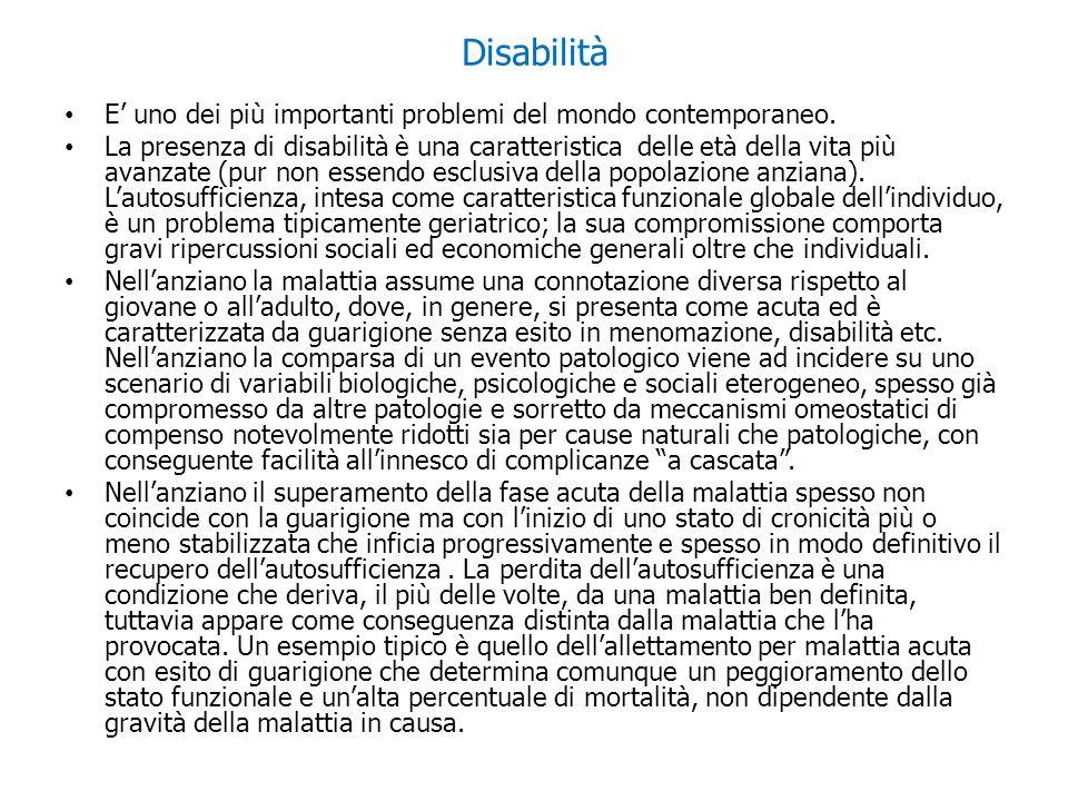 Disabilità E' uno dei più importanti problemi del mondo contemporaneo.