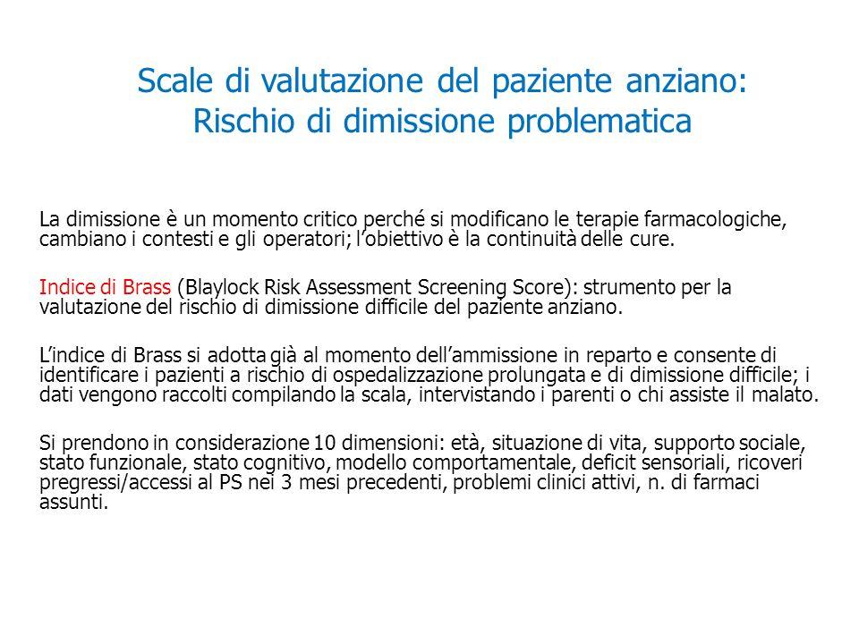 Scale di valutazione del paziente anziano: Rischio di dimissione problematica