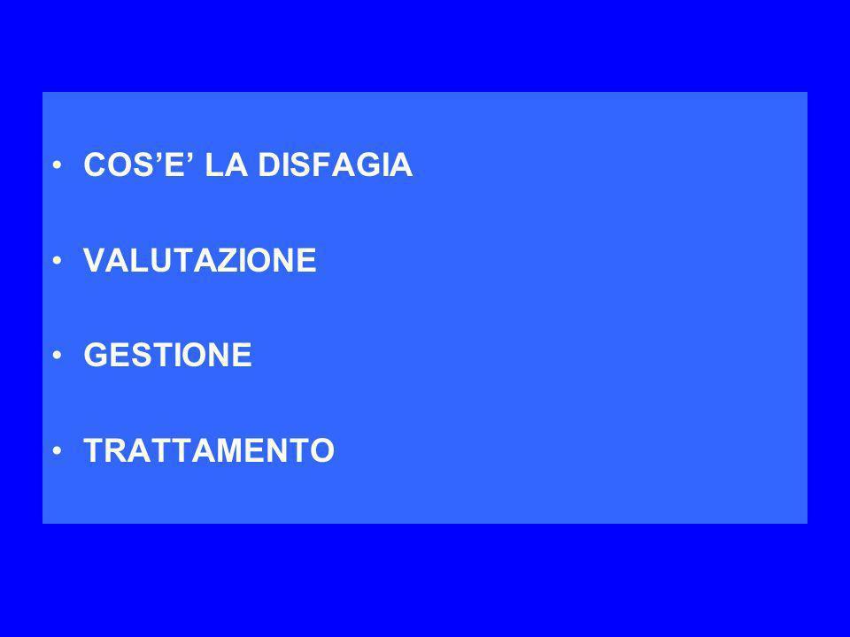 COS'E' LA DISFAGIA VALUTAZIONE GESTIONE TRATTAMENTO