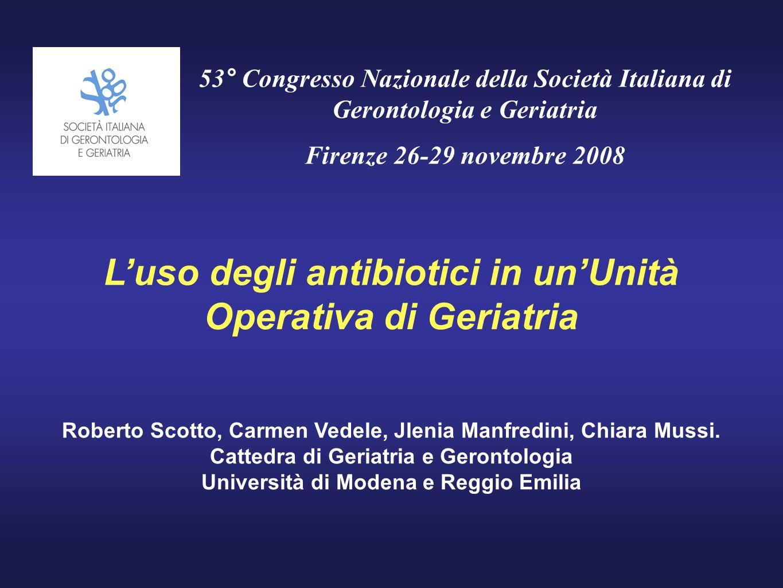 L'uso degli antibiotici in un'Unità Operativa di Geriatria